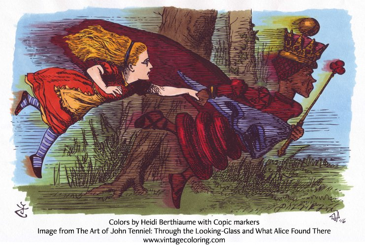 Heidi Berthiaume Vintage coloring image Alice and the Red Queen running