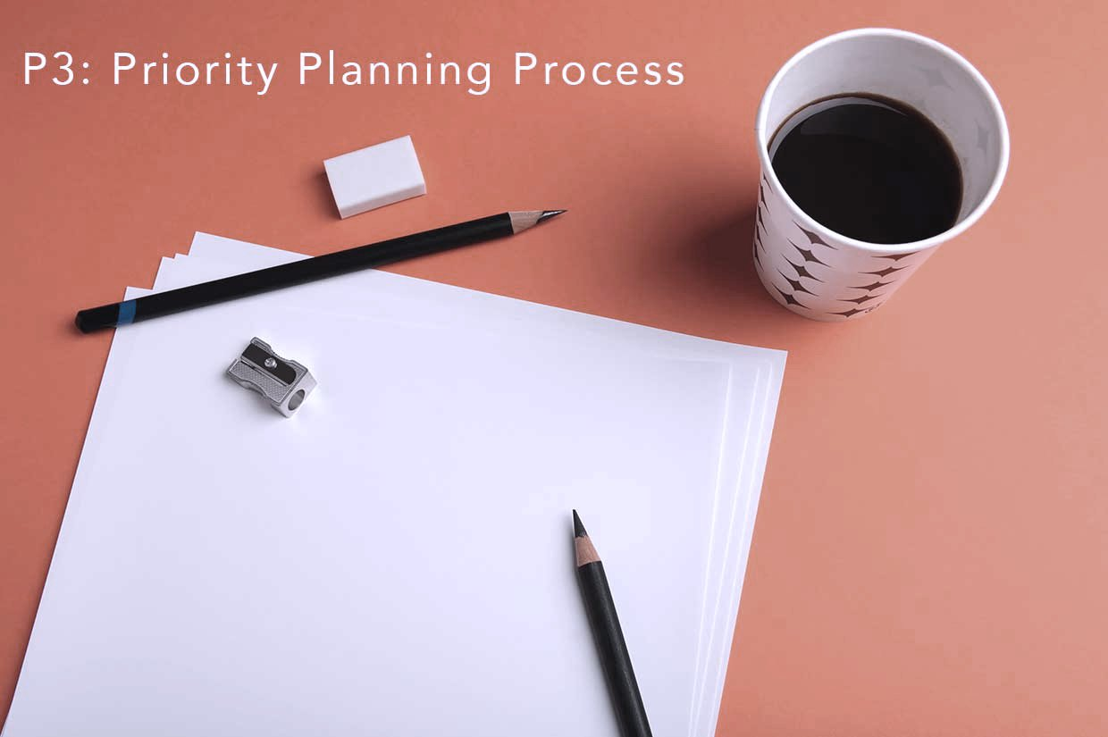 Priority Planning Process essentials - paper, pencil, coffee